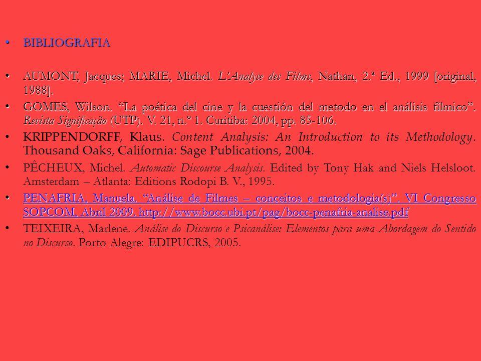 BIBLIOGRAFIA AUMONT, Jacques; MARIE, Michel. L'Analyse des Films, Nathan, 2.ª Ed., 1999 [original, 1988].